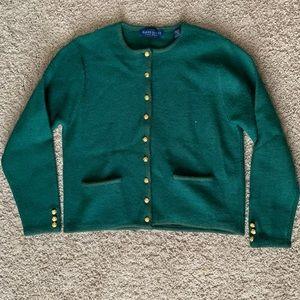 NWT Karen Scott Wool Green Sweater Gold Buttons M
